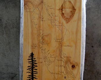 Woodburned Vancouver Island Map on Pallet Wood with Tree and Mountain