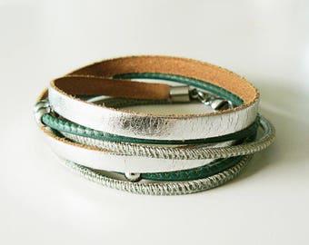 New: leather strap, silver, green, boho, bracelet, Bead Bracelet, genuine leather bracelet, leather wrap bracelet, bracelet double wrapped, stainless steel