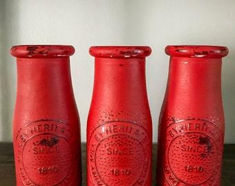 Old Fashioned Milk Bottles- Painted Milk Jar- Mason Jar Decor-Rustic Decor- Farmhouse Decor- Kitchen Decor- Red Jars- Home Decor-Vases- Red