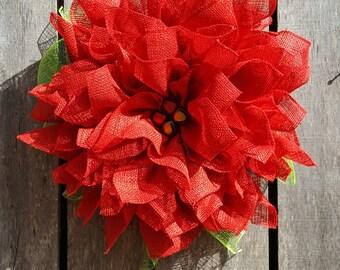 Christmas Poinsettia Wreath, Christmas Burlap Wreath, Christmas Flower Wreath, Christmas Wreath