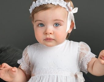 Lace Baby Headband, Melissa Christening Headband, White Lace with Pink Ribbon
