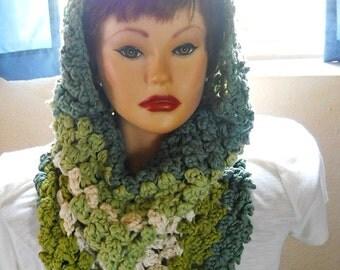 Hand crocheted, Hoodie Cowl Scarf