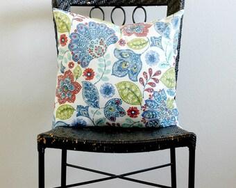Red, blue, green, white flower Pillow cover, Flower Couch Pillow Cover, Flower Throw Pillow, Flower Euro Sham, Paisley Pillow Sham