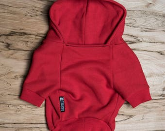 SALE PRICE - one size only - Dog / cat Hoodie - Red -  Handmade pet clothes - Ideal for dogs,  puppies and cats