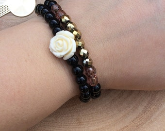 Black And Gold Flower Bracelet Set