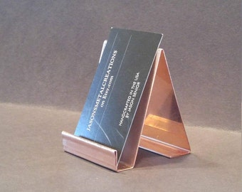 Vertical copper business card holder