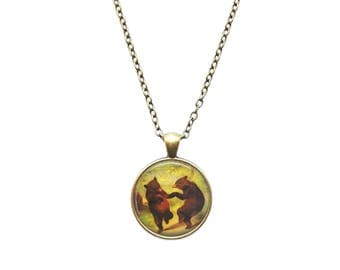 Dancing bears necklace Fairy Tale pendant Vintage Animal jewelry