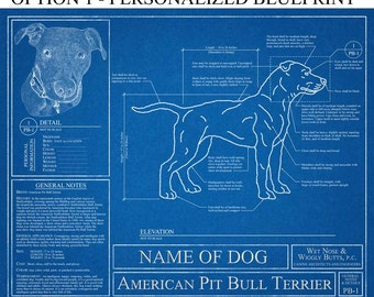 Personalized American Pit Bull Terrier Blueprint / Pit Bull Art / Pit Bull Wall Art / Pit Bull Gift / Pit Bull Print