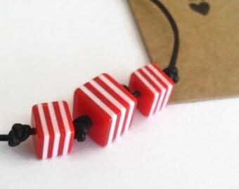 Beaded cord friendship bracelet - 3 beads