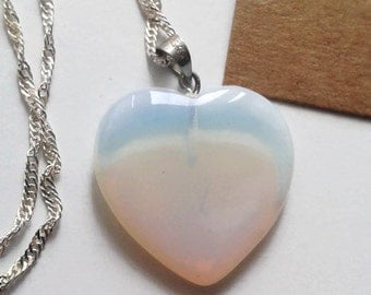 Opalite heart shaped pendant necklace