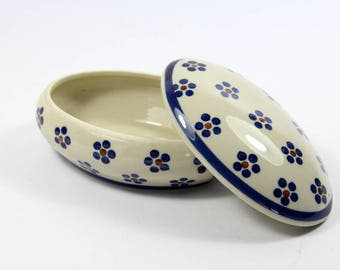 Porcelain can storage with floral pattern Ramsel from the 70s