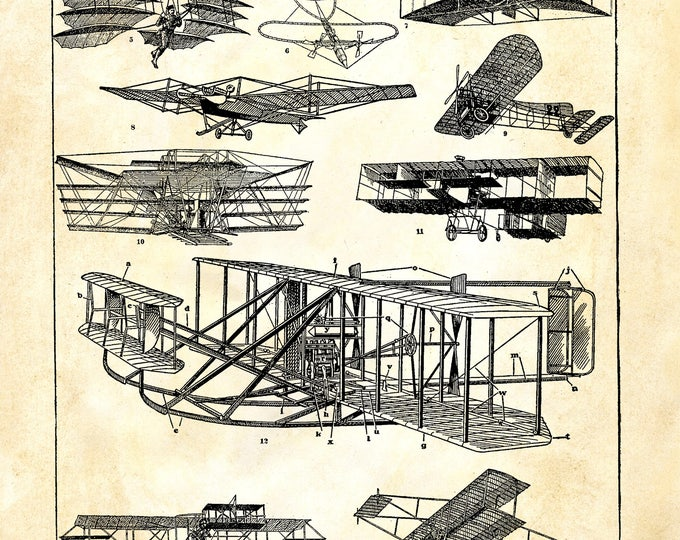 Airplane study aeronautics Wright plane print repro antique paper choice rustic industrial wall hanging gift AIR3356