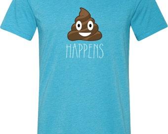 Men's Emoji Shirt Shit Happens Tri Blend V-neck Tee T-Shirt 18820-C3415