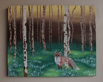 """16x20 Acrylic Painting - """"Forest Fox"""" // Acrylic on Canvas // Forest Painting // Birch Trees // Red Fox //"""