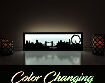 London Skyline, London Lightbox, London Skyline Light Up Picture, London Skyline Picture, Nightlight, LED Lamp, Home Decor