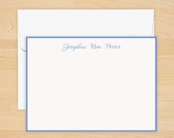 Periwinkle Hand Bordered Correspondence Card with Name - Thermography - 9150