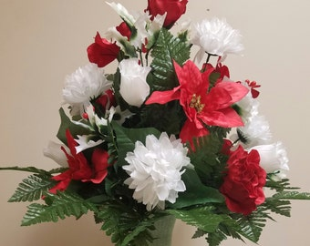 Patriotic Red White and Blue Silk Flower Arrangement and Flag