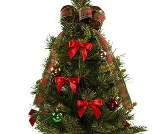 artificial decorated christmas tree with plaid bow cemetery christmas tree small christmas tree - Christmas Tree Small