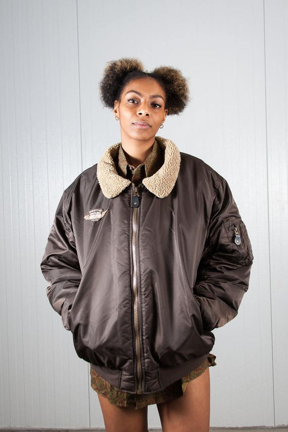 Brown vintage bomber jacket