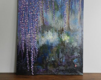 Wisteria painting, Wisteria acrylic painting, Wisteria  abstract painting, Wisteria art, Wisteria wall decor, floral painting, Wisteria gift