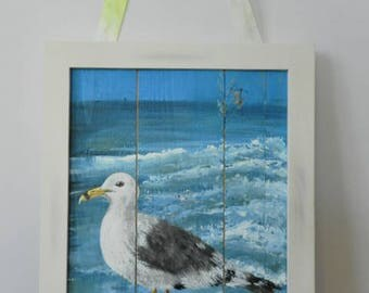 beach decor,seagull painting,beach art,nautical decor,beach painting,shorebird art,shorebird painting,seagull wall art,nurser decor,seagull