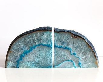 Agate Bookends, Teal, Pair