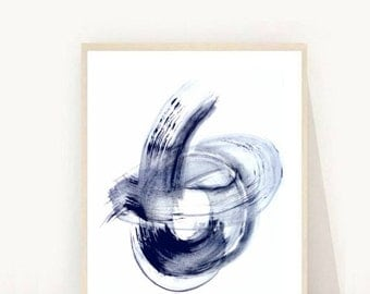 Blue Abstract Print, Navy Blue Wall Art, Watercolor abstract, Printable Wall Art, Abstract Poster, Home Decor, Wall Decor,Instant Download