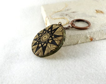 Pyrographed wood slice, wooden keychain or bag jewel