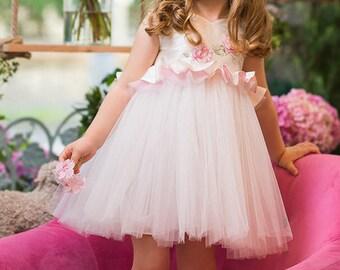 "Tutu Girl Dress ""Damask Rose"", Flower Girl Dress,  First Birthday Dress, Ivory Dress, Hand Painted, Summer Dress for Girls, Couture Dress"