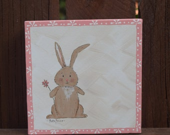 Hop to it Little Bunny! - handpainted bunny on 6x6 Canvas