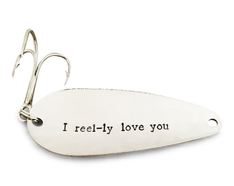 I reel-ly love you, fishing lure, stamped spoon lure
