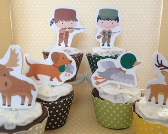 Hunting Party Cupcake Topper Decorations - Set of 10