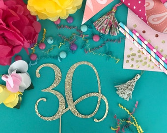 30 Cake Topper Glitter Party Decorations for Adult Girl Boy Anniversary 30th Birthday for Her Him Age Number and Pick Color