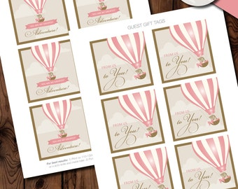 Up Up and Away Baby Shower Gift Tags, Hot Air Balloon Gift Tags,  Up, Up and Away Baby Shower Printables