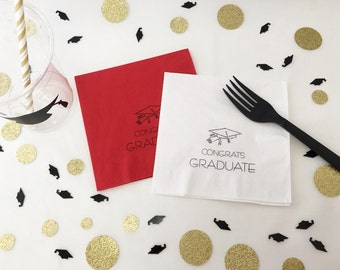Graduation Napkins - Class of 2017 - Cap and Gown - High School Graduation Decorations - College Graduation - Graduation Party Decorations