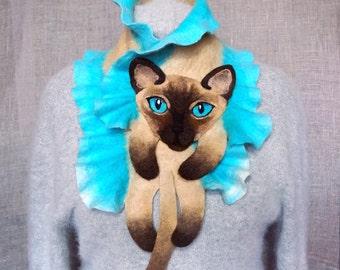 Wool Scarf Beige Siamese Cat Blue Eyes
