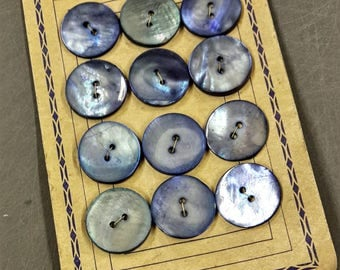 Blue mother of Pearl 12 vintage buttons 23 mm original paper