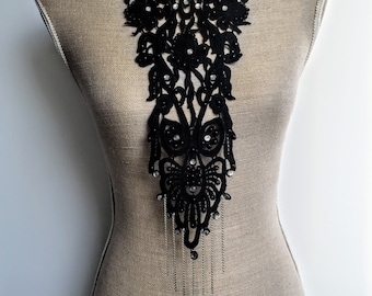 Embellished black lace neck piece with half pearls, rhinestones and chain