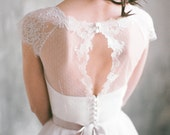 Angara - keyhole back short sleeve wedding dress, tulle wedding gown with dotted tulle bodice, sweetheart shaped corset gown, lace sleeves