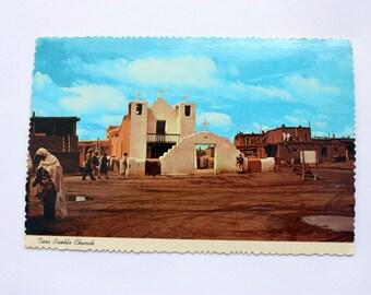 Taos Pueblo Church New Mexico Postcard 1975 /Taos  Pueblo Posrcard / Taos New Mexico / vintage Church Postcard