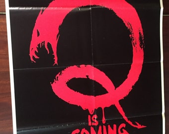 Vintage Original Movie Poster for Q the 1982 horror film / Rare One-Sheet Promotional Film Poster for Q