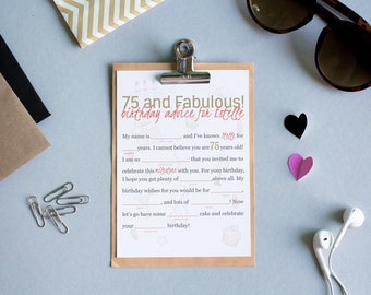 Mad Libs Printable Birthday Activity For Guests Digital Product