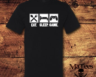 Eat Sleep Game, Gamer, Video Games, Video Gamer, Player 1, RPG, Shooter, Strategy, Nerdy, Gift, Present, T-Shirt, Shirt, Tee