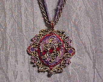 Vintage Necklace Pendant, Rhinestones and Enameled on chain plus purple cord.  FREE shipping in the USA