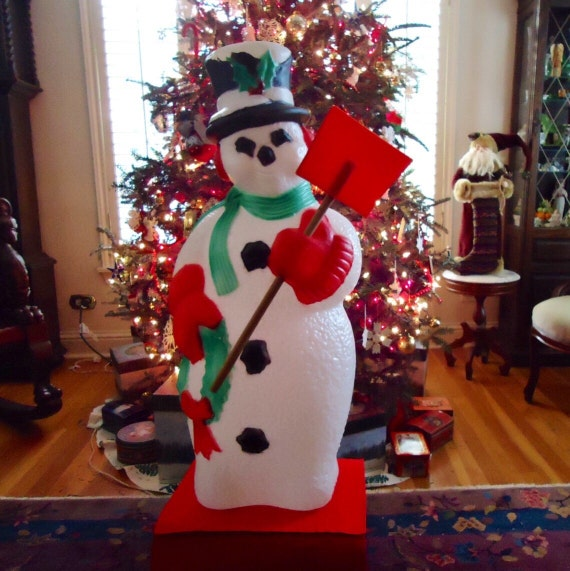 40 Inch BLOW MOLD SNOWMAN With Original Shovel & Bright Colors