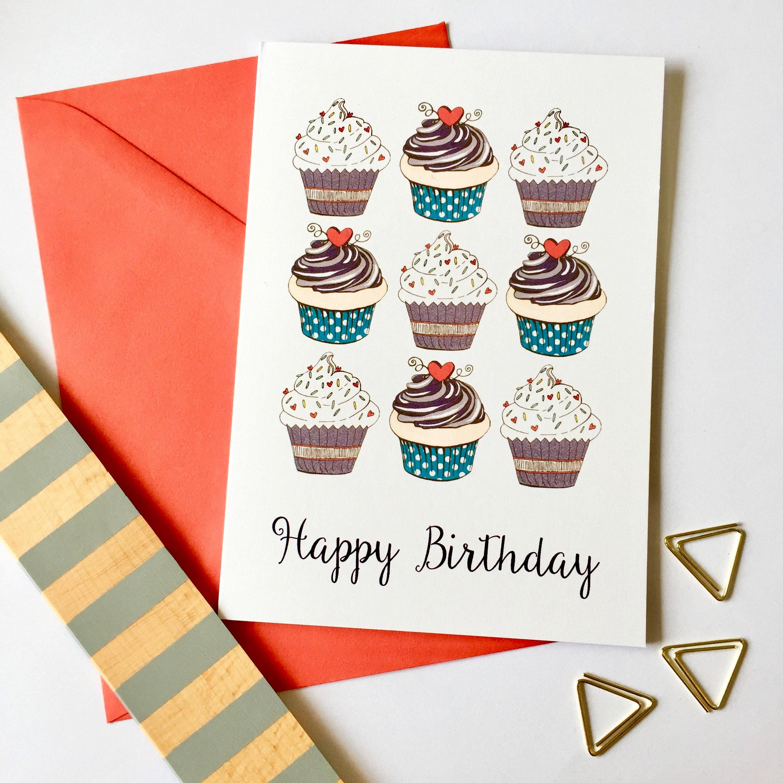Cupcakes Happy Birthday Card Cupcake Card Card For Mom