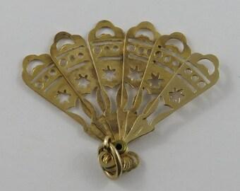 Hand-Held Fan Mechanical 9K Gold Vintage Charm For Bracelet