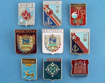 Emblems  of Soviet Cities, Coat of Arms  of Soviet Towns. Soviet  Pins, Soviet Badges. Collectible Metal Badge. Made in USSR.
