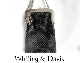 Whiting and Davis Vintage Black Enamel On Mesh Shoulder Bag / Handbag / Long Silver Chain / Art Deco Look and Feel