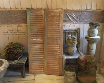 Miniature Shutters ~ Weathered Rustic Garden Shutters ~ Wooden Window Shutters ~ 1:12 Scale